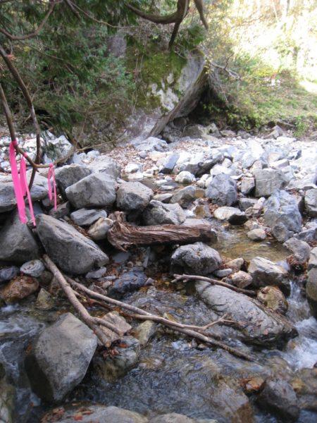 徒渉ポイント(水量は少なく、飛び石を辿って通過)