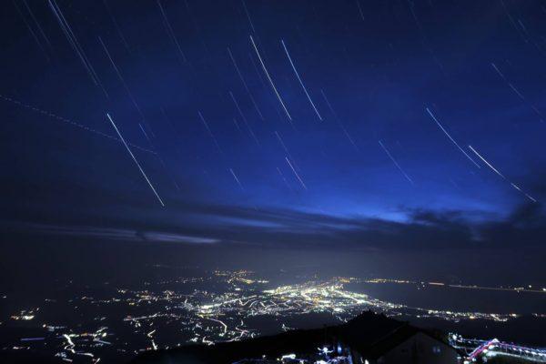 星空と米子の夜景②