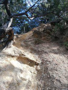 急な下り。とても崩れやすくズルズルと滑ります。横に巻き道もありました。