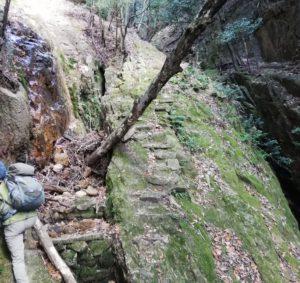 登山口からすぐ。足場が靴幅ほどの切れ落ちた左の斜面から、右の石段に渡ります。石に苔がついているので、濡れているとかなり滑りやすそうです。